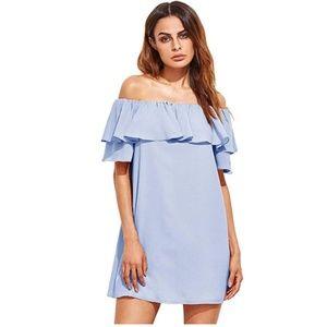 Off Shoulder Ruffles Shift Loose Mini Dress